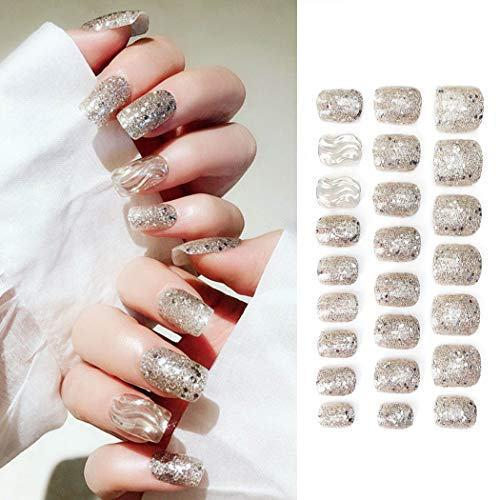 Sethexy Glitter Paillette Wave False Nails Art Tips Ripple Sequins UV Nails Full Cover Bling Art Design 24Pcs Fake Nails for Women and Girls