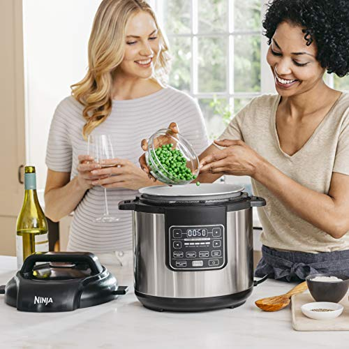 Ninja Instant, 1000-Watt Pressure, Slow, Multi Cooker, and Steamer with 6-Quart Ceramic Coated Pot & Steam Rack (PC101), Black/Si, Silver