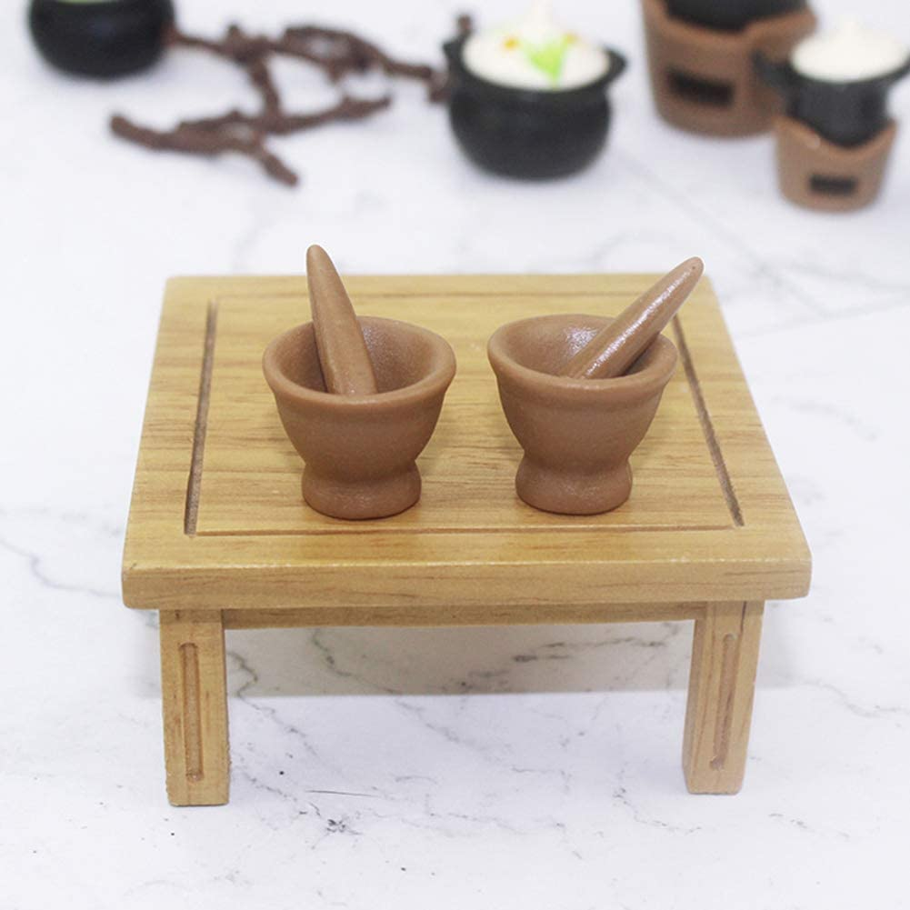 Jiecikou Vintage Pestle and Mortar Set 1:12 Scale Doll House Miniature DIY Doll House Furniture Kitchen Accessories