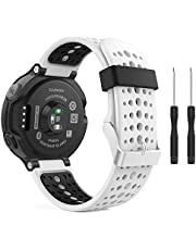 MoKo Band Compatible with Garmin Forerunner 235, Soft Silicone Replacement Watch Band fit Garmin Forerunner 235/235 Lite/220/230/620/630/735XT Smart Watch - WHITE & BLACK