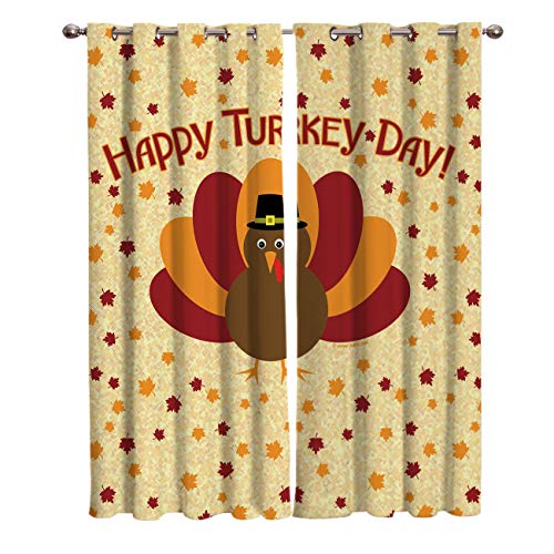 - FunDecorArt Blackout Curtains, Happy Turkey Day Cartoon Thanksgiving Polyester Shade Curtains, 2 Panel Drapes/Window Treatment for Bedroom/Living Room/Office/Teen Room, 104 W x 72 L inches