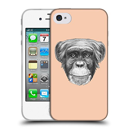 GoGoMobile Coque de Protection TPU Silicone Case pour // Q05170604 Dessin singe Abricot // Apple iPhone 4 4S 4G