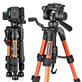 Mini Tripod, zakitane Tabletop Desktop Phone Tripod 22-inches with Pan Head Panoramic Quick Release Plate & Carrying Bag for DSLR Camera (Load: 11 lbs, Weight:1.41 lbs) zt22 Orange