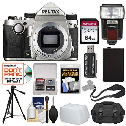 (Pentax KP Wi-Fi Digital SLR Camera Body (Silver) with 64GB Card + Battery + Case + Strap + Tripod + Flash + Diffuser + Kit)