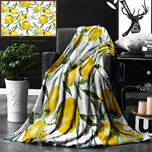 Ralahome Unique Custom Digital Print Flannel Blankets Nature Vibrant Citrus Branch Blooms Delicious Plant Garden Elegance Watercolo Super Soft Blanketry Bed Couch, Throw Blanket 60 x 40 Inches
