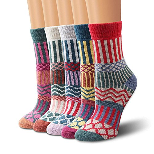 Ambielly Winter Women Socks 5 Pairs Vintage Style Knit Wool Casual Socks Thick Warm Colorful Socks (SD10004B)