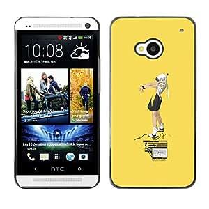 EJOY---Cubierta de la caja de protección la piel dura para el / HTC One M7 / --Amarillo Street Art