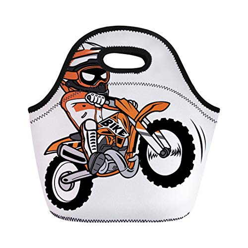 Semtomn Lunch Bags Bike Motocross Splashing Biker Motorcycle Rider Dirt Cartoon Motorbike Neoprene Lunch Bag Lunchbox Tote Bag Portable Picnic Bag Cooler Bag