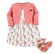 Hudson Baby Girls 3 Piece Dress, Cardigan, Shoe Set, Flamingos, 9-12 Months