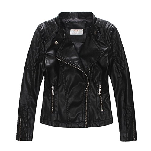 LJYH Girls'Faux Leather Quilted Shoulder Motorcycle Jacket Black ()