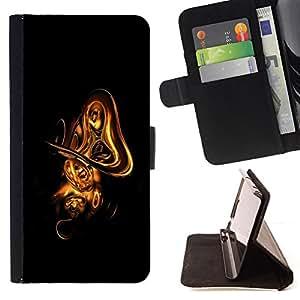 BullDog Case - FOR/Samsung Galaxy Note 3 III / - / cool abstract gold shape /- Monedero de cuero de la PU Llevar cubierta de la caja con el ID Credit Card Slots Flip funda de cuer