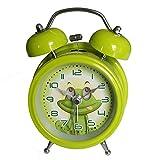 HAND 6025B Extremely Silent Children Cartoon Metal Twin Bell Alarm Clock 3'' (Frog - Green)