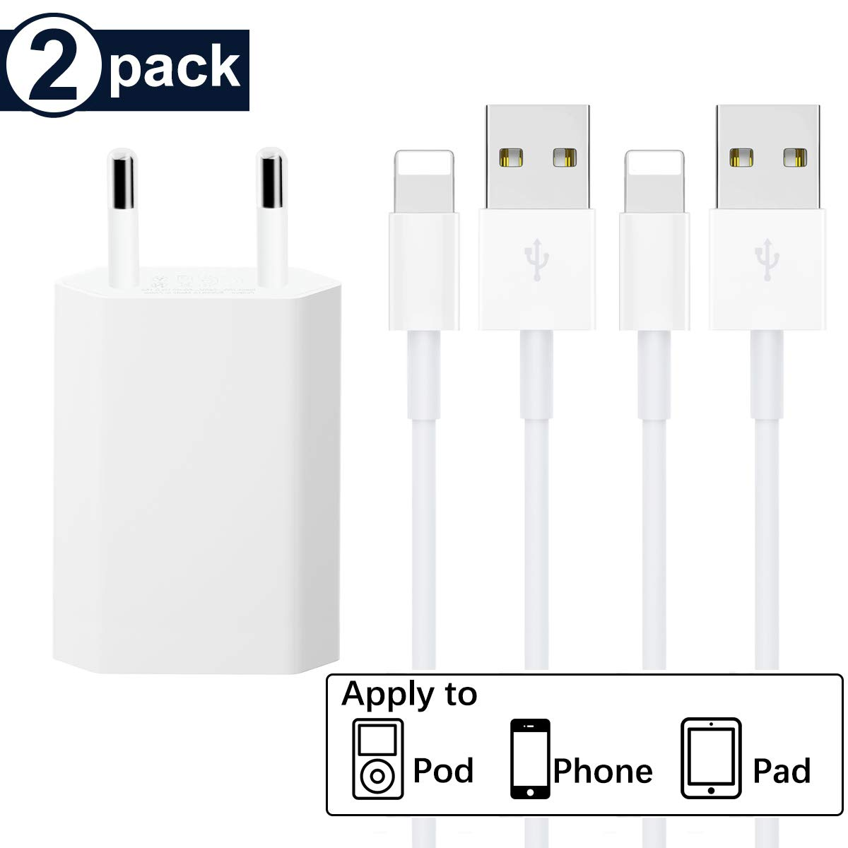 WUXIAN 1* Adaptateur USB Chargeur Secteur 2-Pack 1M Certifi/é MFI C/âbles Compatible avec iPhone XS,XR,XS Max,X,8,8 Plus,7,7 Plus 6s
