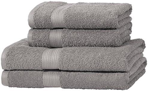 AmazonBasics - Juego de toallas (colores resistentes, 2 toallas de baño y 2 toallas de manos), color gris: Amazon.es: Hogar