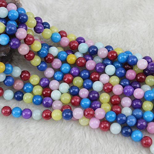 (8mm Multicolor Rainbow Round Chalcedony Beads Semi Precious Loose Gemstones Stones for Jewelry Making Strand 15 Inch (48-50pcs))