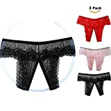 JALIYO Sexy Panties Lace Underwear 3 Pack Bridal Wedding Lingerie Gift (NO.15 Crotchless Thongs)