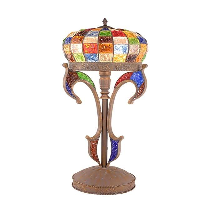 Amazon.com: CCSUN E26 Lámpara de mesa de cristal tintado ...