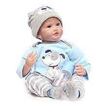 Nicery Reborn Baby Doll Soft Simulation Silicone Vinyl 22inch 55cm Magnetic Mouth Lifelike Boy Girl Toy Blue Dog