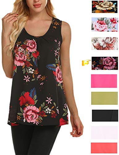 cd8a4b576d0 Zeagoo Women's Floral Print Loose Casual Flowy Tunic Tank Top ...