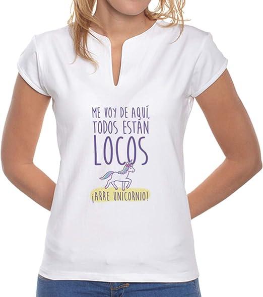 latostadora - Camiseta Arre Unicornio para Mujer Blanco S