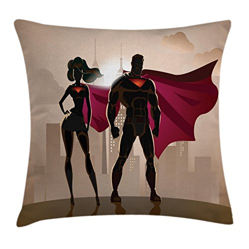 Saloon Girl Costume Party City (Superhero Throw Pillow Cushion Cover by Ambesonne, Super Woman and Man Heroes in City Fighting Crime Hot Couple in Costume, Decorative Square Accent Pillow Case, 20 X 20 Inches, Beige Brown Magenta)
