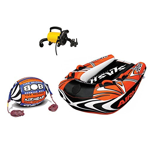 Airhead Inflatable Boat Towable Tube w/Bob Tow Rope and 110V Electric Pump ()