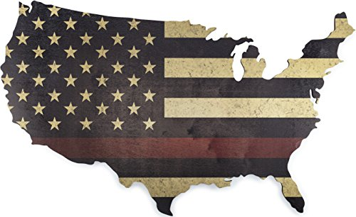 "American Flag Wall Art Large 36"" x 22"" Laser Cut Wood Map with Distressed Vintage US Flag Print (Thin Red Line) (Artwork Flag Us)"