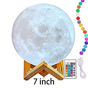 Moon Light Lamps (6″-11″), 3D Printing Moon Lamp with Stand, LED 16 Colors, Touch Control and Remote Control.