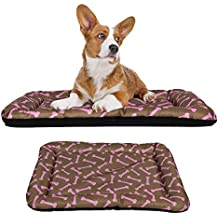 "Dog Crate Pad Bolster Bed Pet Mat Waterproof, 36"" x 23"" Large Brown and Pink Bone"
