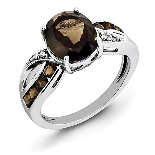 Jewelry Adviser Rings Sterling Silver Rhodium Diam. & Smoky Quartz Ring Size 7 (Smoky Jewelry Box Silver Quartz)