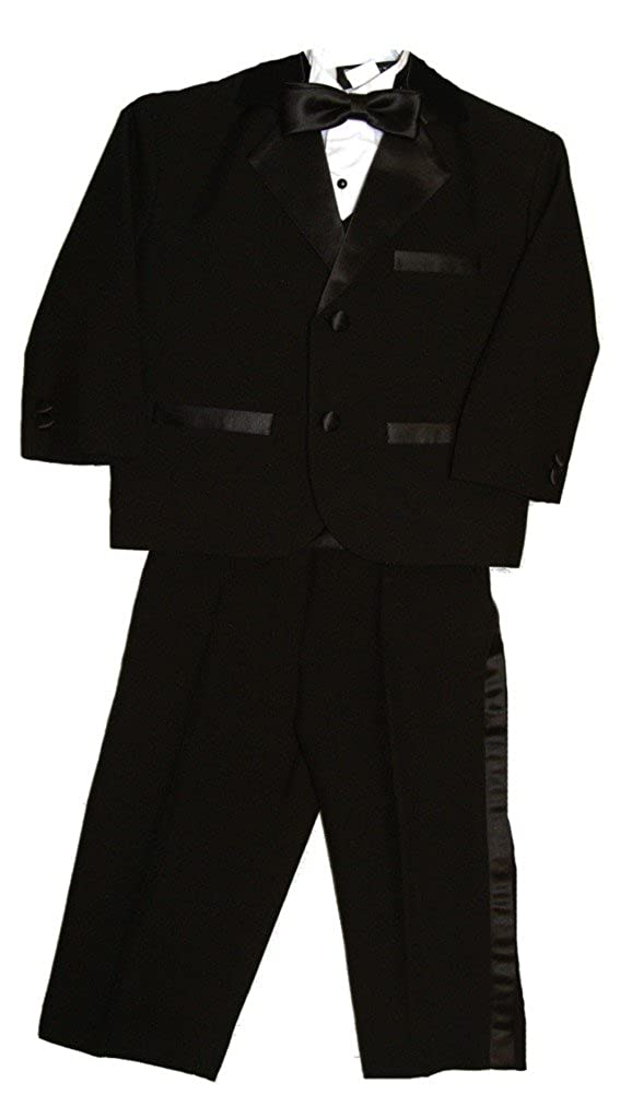 Fouger Boy's Black Notch Collar Traditional Tuxedo Set