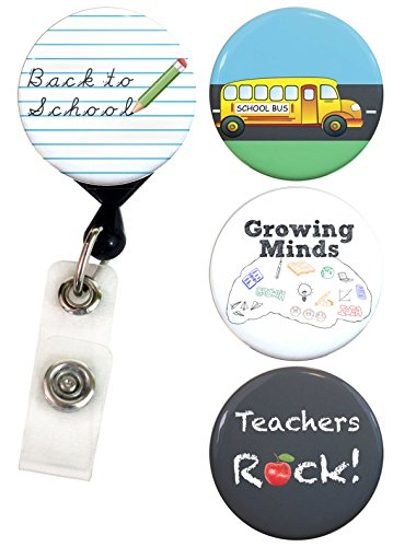 Buttonsmith Teacher Tinker Reel Retractable Badge Reel With Alligator Clip and Extra-Long 36 inch Standard Duty Cord - Made in the USA, 1 Year Warranty
