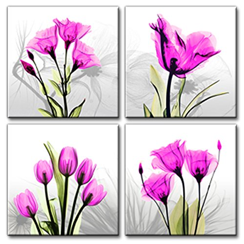 4 Panel Pink Tulip Flower Canvas Print Wall Art Painting for Living Room Modern Home - Flower Tulip Pink