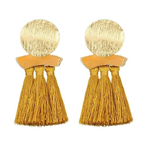 Beuu Jumping Property Prices Tassel Earrings Women Bohemian Fashion Weave Long Drop Jewelry (Yellow) from Beuu
