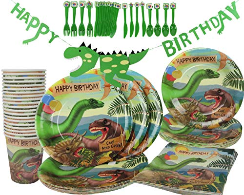 Dinosaur Happy Birthday Party Decorations Supplies Kit The 140 Piece (Serves 20) Celebration Pack Plates Cups Napkins and Cutlery ()