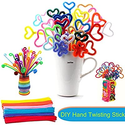 Jumbo Pack of 300 Pipe Cleaners, Chenille Stems DIY Hand Twisting Bar, 12 inch x 6 mm - Multiolors - Fluorescent Colours - Great Gift for Your Kids