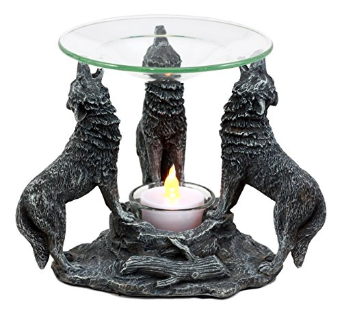Ebros Gift Moonlight Three Howling Wolves Oil Warmer Or Wax Tart Burner Aroma Scent Diffuser Statue Faux Stone Resin Wolf Themed Decorative Figurine (Glass Unity Candle Oil)