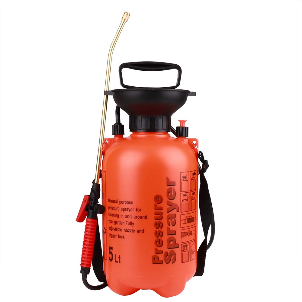 Moutik Garden Sprayer Hand Held Compression Sprayer Portable Pump 1.3 Gal Sprayer for Mild Cleaning Solutions with Shoulder Strap (5L/1.3 Gallon, Orange)