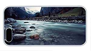 Fashion for cheap iphone 5S cover Switzerland Lauterbrunnen beautiful landscape river rocks mountains houses PC White for Apple iPhone 5/5S
