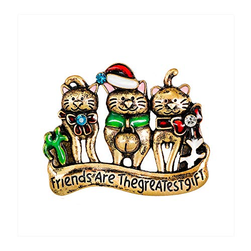 - Dwcly Christmas Three Cats Brooch Pins Friends are The Greatest Gift Cute Pet Broach Charm Clothes Accessories (Antique Gold)