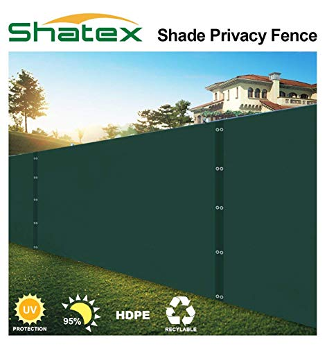 Shatex Pro Security & Privacy Windscreen,Dark Green 6x60FT with Grommets & Zip Ties for Quick Installation,Heavy Duty Privacy Fence for Garden Yard, Commercial Construction Site, Deck, Balcony Pool
