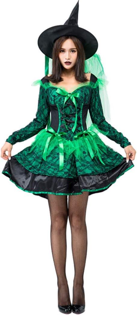 Jeff-chy Falda De La Bruja De Halloween del Traje del Cordón Verde ...
