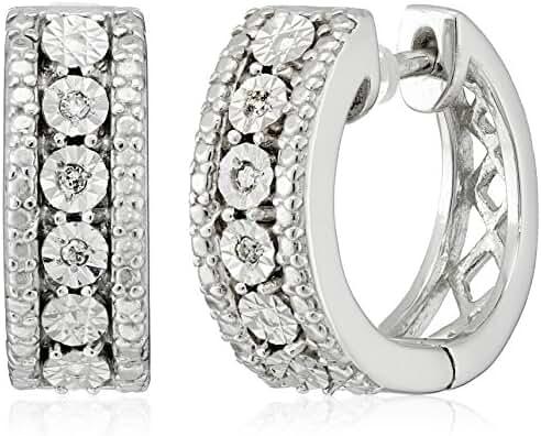 Sterling Silver Diamond Accent Miracle Plate Hoop Earrings