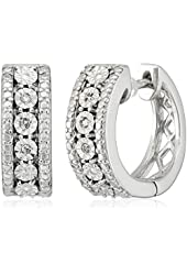 Sterling Silver Diamond Accent Miracle Plate Hoop Earrings