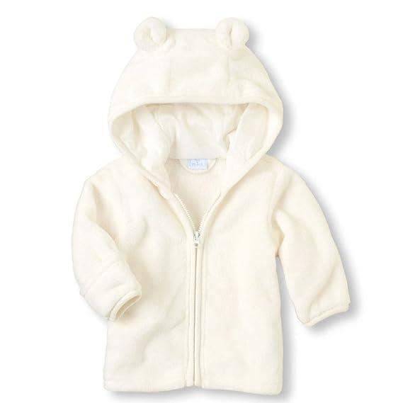 sunnywill Abrigo con Cremallera para bebé niña, Chaquetas Calientes - Chaqueta con Capucha de Terciopelo Coral para niño niña Blanco Blanco 0-6Mois: ...