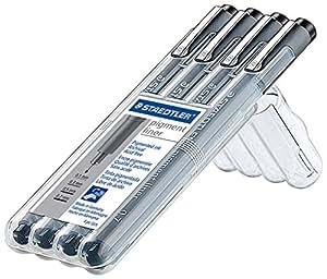 Staedtler 308 A6 WP403 Pigment Fineliner Sketch Pen Pens (4 Pack), 0.1/0.3/0.5/0.7mm, Black