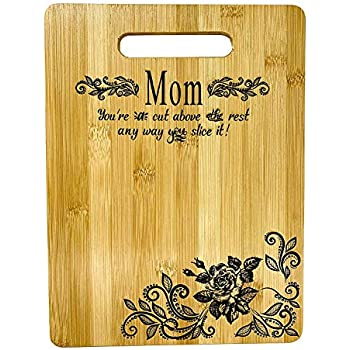 Mother's Gift - Mom Bamboo Cutting Board for Kitchen Mom Birthday Christmas Gift Engraved Side For Décor Best for Meat/Vegetables and Fruits - 9 x 6 inches