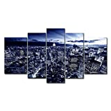 5 Panel Wall Art Painting New York In Blue Pictures Prints On Canvas City The Picture Decor Oil For Home Modern Decoration Print