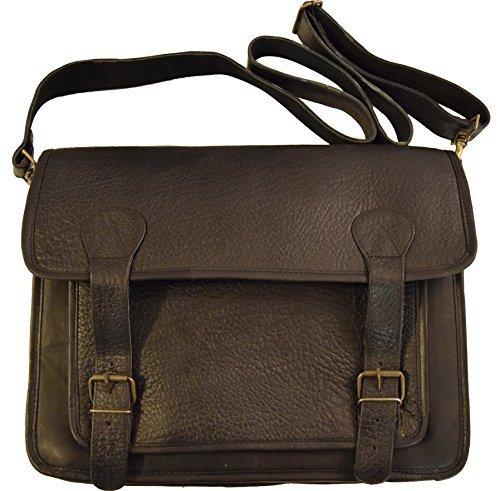 "Men's Leather Satchel Briefcase Vintage Crossbody 15"" Laptop Bag (Black)"
