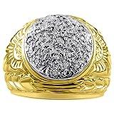 Mens Diamond Cluster Ring 14K Yellow or 14K White Gold